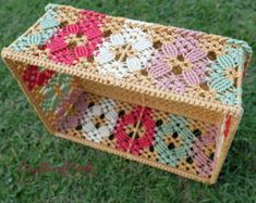 The handmade macrame basket in Multi colors. There is the small cylinder shape that made from the fine Nylon rope and frame . For the macrame