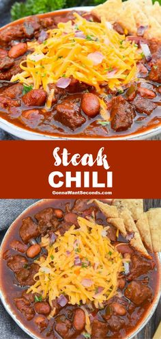 Steak Chili (One Pot Comfort Food!) *NEW* Steak chili is one of those hearty stick-to-your-ribs recipes full of fork-tender meat, veggies, and beans with a secret ingredient to amp up the flavor! Rib Recipes, Gourmet Recipes, Crockpot Recipes, Dinner Recipes, Cooking Recipes, Healthy Recipes, Gourmet Chili Recipe, Smoker Recipes, Salad Recipes