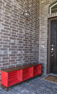 Make a bench from 3 wooden crates. Love this. Perfect idea for shoes storage