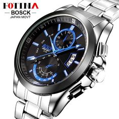8da9d4af808 BOSCK Casual Business Watch Men Stainless Steel Water Resistant Quartz  Clock Auto Day Date Watches