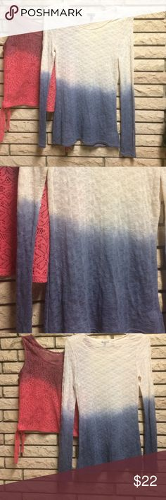 Dip Dyed Express See Through Lacey Top, sz S The colors are like a nude/peach and dark sky blue--very cute and delicate. It's an express long sleeve lacey see through top, size women's small. Express Tops Tees - Long Sleeve