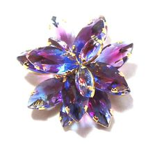 Austrian Lavender Brooch on fire with end of day glass rhinestones.