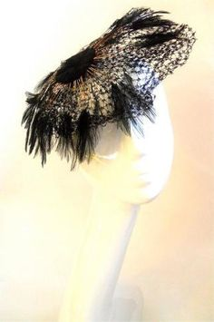 Black Iridescent Feather and Bead Fascinator Hat circa 1960s - Dorothea's Closet Vintage