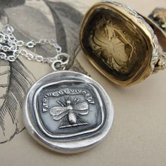 Bee antique wax seal necklace with latin motto Vive Ut Vivas - Live Life To The Fullest - in fine silver jewelry