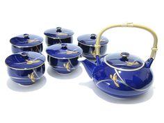 RP: Japanese Arita Porcelain Fukagawa Koransha Navy Cobalt Blue Tea Set   eBay.com