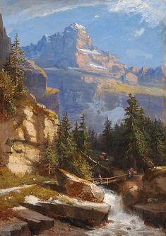 Buy online, view images and see past prices for Gebirgslandschaft mit Bach und Brücke. Invaluable is the world's largest marketplace for art, antiques, and collectibles. Fantasy Art Landscapes, Landscape Art, Landscape Paintings, Great Paintings, Beautiful Paintings, Beautiful Landscapes, Painting Still Life, Mountain Paintings, Renaissance Art