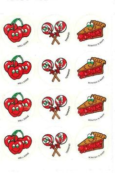 Cherry CTP scratch and sniff stickers - 1980's