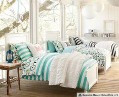 Shared Girls' Bedroom & Hampton Cottage Stripe Bedroom | PBteen - i like that bedding