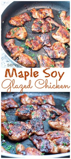A slightly sweet salty and super fast Maple Soy Glazed. A slightly sweet salty and super fast Maple Soy Glazed Chicken A slightly sweet salty and super fast Maple Soy Glazed Chicken Thighs - perfect for a quick weeknight meal Easy Chicken Recipes, Turkey Recipes, Recipes Dinner, Pasta Recipes, Breakfast Recipes, Simple Chicken Thigh Recipes, Potato Recipes, Casserole Recipes, Quick Chicken Thigh Recipes
