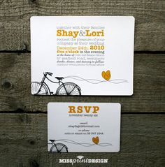 Sweethearts Love Bike WEDDING INVITATION by missprintdesign, $4.75