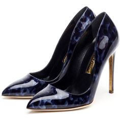 Rupert Sanderson High Heel Pumps (870 CAD) ❤ liked on Polyvore featuring shoes, pumps, heels, sapatos, обувь, navy blue high heel shoes, navy patent leather shoes, heels & pumps, navy blue patent pumps and navy shoes