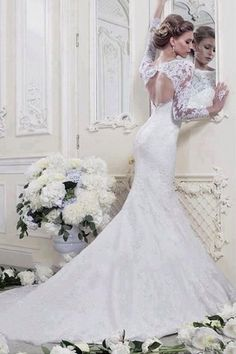 Sexy Open back White/Ivory Long sleeve Lace Mermaid Bridal Gown Wedding Dresses