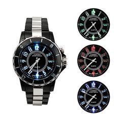 Fashion New LED Light Black Band Analog Quartz Mens Sport Waterproof Wrist Watch