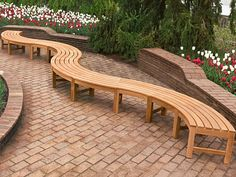 Garden Benches Design Ideas For Many Person With Snake Decoration On The Stone Bricks Floor Also Beautiful Flowers Garden
