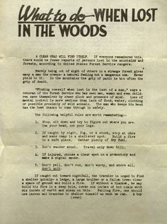 The U.S. Forest Service - What to do when lost in the woods