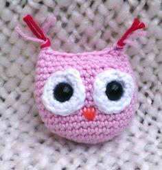 Crocheted pocket toy owl light pink by MadeByKirsti on Etsy