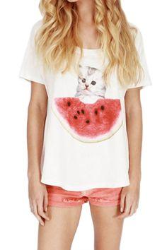 ROWME Cat and Watermelon Print White T-shirt - Fashion Clothing, Latest Street Fashion At Abaday.com