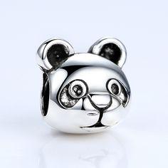 BAMOER 18k Silver Plated Cute Panda Pattern Animal European Charm Bead fit pandora Bracelets DIY