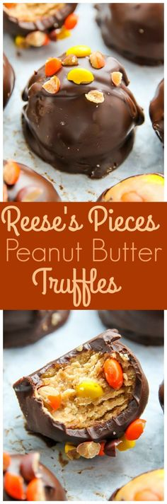 Creamy and crunchy chocolate peanut butter truffles loaded with mini Reese's pieces.