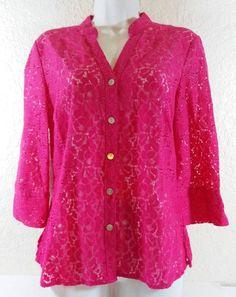Valerie Stevens Petite Large PL Hot Pink Eyelet Cotton Blouse B236 #ValerieStevens #Blouse