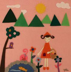 Handmade Войлок Розовый Цветочный Натуральный Счастлив Удовольствие Милых Животных Свиней Птицы Ребенок Девочка Художественное Произведение Стены Вися