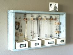 DIY Hanging Jewelry Storage Display by A Time For Everything Hanging Jewelry Organizer, Jewelry Organization, Organization Ideas, Bracelet Organizer, Bedroom Organization Diy, Homemade Jewelry Organizer, Vanity Organization, Shoe Organizer, Organizing Tips