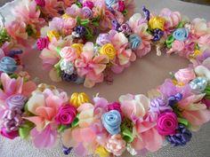 wedding lei. hawaiian lei. ribbon lei.  Rainbow Shower Tree  Hawaiian Flower. $56.00, via Etsy.