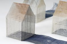 "Yoriko Murayama, ""LittleHouses"" of Constellation silk, abaka, natural dyes, double ikat. Just another shot but clser so you can appreciate just how fine these ""Little Houses"" are. Textile Sculpture, Sculpture Art, Textiles Sketchbook, Weaving Art, Miniature Houses, Textile Artists, Little Houses, Ceramic Art, Home Art"