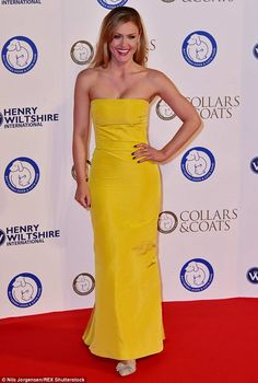 Mellow yellow: Classical crossover singerCamilla Kerslake looked stunning in a canary yel...