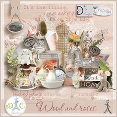 A magnificent very soft kit which invites to cocooning for your scenic or traditional creations...  by Paprika & Doudou's Design    This kit includes:  20 papers  127 elements  6 wordarts