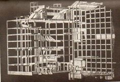 """Auguste Perret, a modern master in the use and adaptation of reinforced concrete, drew this fantastic skeleton representation of his """"Theatre des Champs Elysees"""" (1913)"""