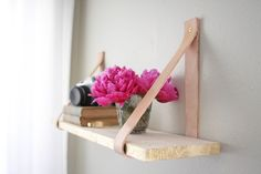 Floating shelf-wood and leather. Single