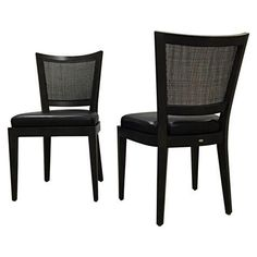 Two Promemoria Wenge Rattan Leather Side Chairs on Chairish.com