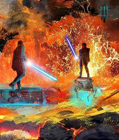Consumed by Star Wars Feelings — Obi-Wan Kenobi Anakin Vs Obi Wan, Anakin Vader, Darth Vader, Anakin Skywalker, Star Wars Comic, Star Wars Jedi, Star Wars Pictures, Star Wars Images, Star Wars Concept Art