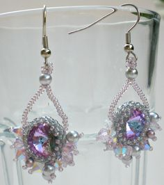 Items similar to Swarovski Rvoli Crystals Pearls Grey Silver Opal Earrings Beadwoven Beaded Beadweaving Unique Jewelry on Etsy Opal Earrings, Beaded Earrings, Beaded Jewelry, Unique Necklaces, Unique Jewelry, Jewelry Art, Jewelry Ideas, Jewellery, Blue Necklace