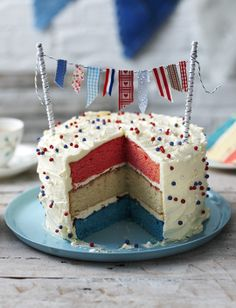 This charming colourful sponge cake is decorated with beautiful bunting, easily made with straws and scraps of cute fabric. Equipment and preparation: You will need two lengths of doweling rod, assorted ribbon and thread, and an electric mixer. British Cake, British Party, Pink Champagne Cake, Cupcake Pictures, Cake Bunting, No Bake Desserts, Baking Desserts, Baking Recipes, Occasion Cakes