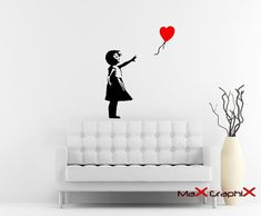 Banksy Wall Decal, Balloon Girl Inspired Removable Wall Decal $20