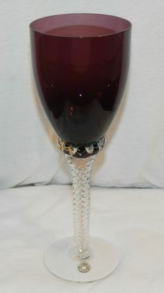 "Pair Vintage Bohemian Dark Amethyst Stem Wine Glass 9"" Tall (Original Stickers) $39.99 OBO + $9.50 Shipping"