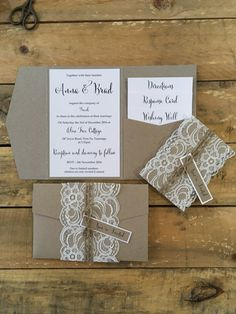 30 x cordón rústico rústico invitaciones de por StunningStationery