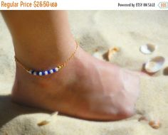 ON SALE, UNIQUE Gold Anklet, Beaded Anklet, Gold Filled or Sterling Silver, Minimal Anklet, Beach Jewelry, Foot Jewelry, Aman33