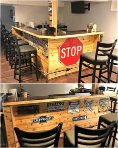 Here you can see another idea for the creation of bar for serving the customers in a restaurant or bar. The stools can also be created with the wood pallets to save the money and there is enough space to serve many customers at a time.