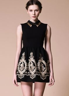 Black Lapel Sleeveless Zipper Embroidery Dress $49