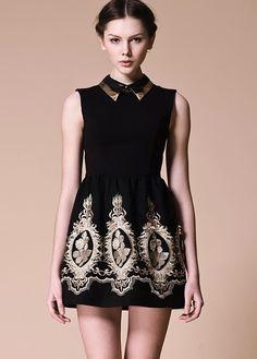 Black Lapel Sleeveless Zipper Embroidery Dress $49