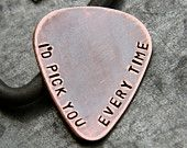 Custom Personalized Guitar Pick in Handstamped Copper - Perfect Gift for Dad, Husband or Boyfriend