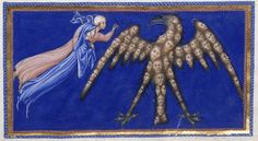 Detail of a miniature of Dante and Beatrice before the eagle of Justice, from the Paradiso, Italy (Tuscany, Siena?), 1444-c. 1450, Yates Thompson MS 36, f. 162r