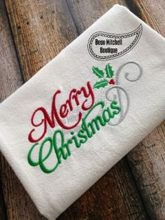 Merry Christmas embroidery design | Beau Mitchell Boutique