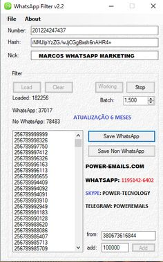 Filtro Whatsapp Marketing Atualizado 2017    Skype: Power-Tecnology  Telegram : PowerEmails  Whatsapp: (11)95142-6402
