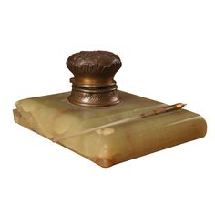 French Marble and Brass Inkwell and Pen  France  Circa 1890