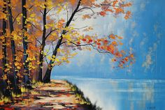 AUTUMN OIL PAINTING  fall trees River impressionism  Fine Art