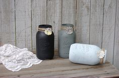 Shabby Chic Mason Jars Grey Black Rustic di TheVintageArtistry